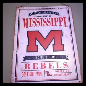 Ole miss hanging metal sign